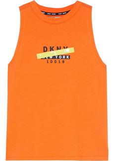 Dkny Woman Printed Stretch-cotton And Modal-blend Jersey Tank Papaya