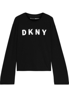 Dkny Woman Printed Stretch Cotton And Modal-blend Jersey Top Black