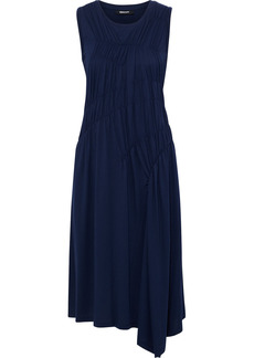 Dkny Woman Ruched Cotton And Modal-blend Jersey Midi Dress Navy