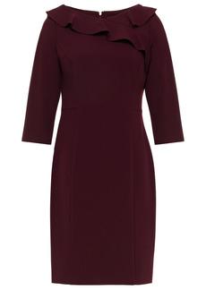 Dkny Woman Ruffle-trimmed Stretch-crepe Mini Dress Merlot