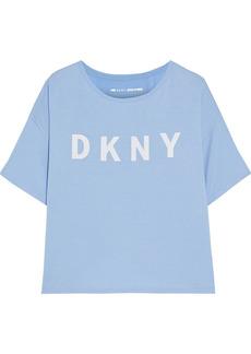 Dkny Woman Split-back Printed Stretch-modal Jersey T-shirt Light Blue