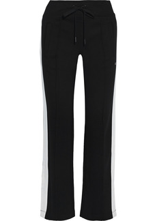 Dkny Woman Striped Stretch-jersey Track Pants Black