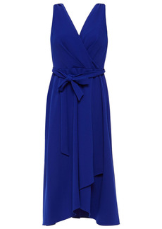 Dkny Woman Wrap-effect Belted Stretch-crepe Midi Dress Bright Blue