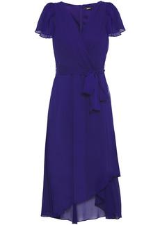 Dkny Woman Asymmetric Wrap-effect Georgette Midi Dress Indigo