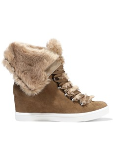 DKNY Donna Karan Woman Cristin Faux Fur-trimmed Suede Wedge Sneakers Taupe