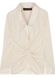 DKNY Donna Karan Woman Satin-trimmed Twist-front Silk-blend Blouse Blush