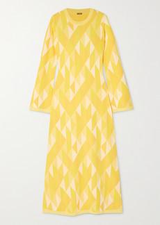 Dodo Bar Or Ally Open-back Intarsia-knit Midi Dress