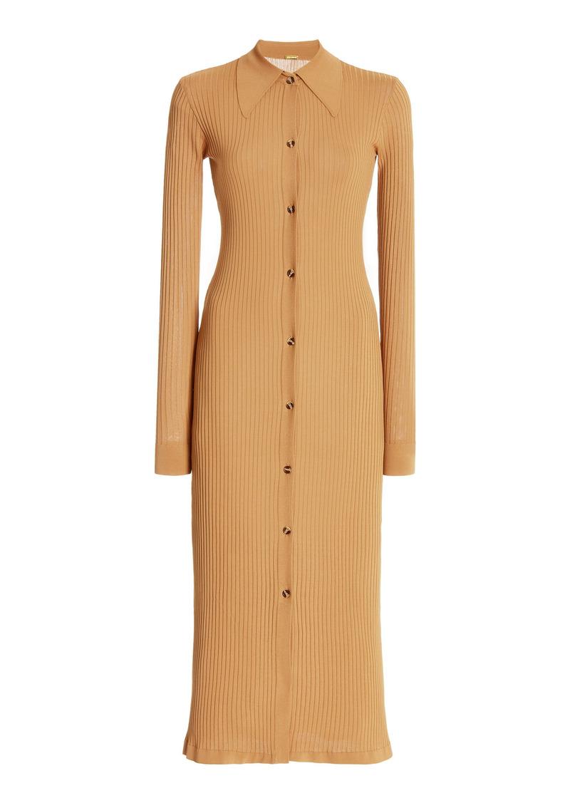 DoDo Bar Or - Women's Ella Ribbed-Knit Midi Sweater Dress - Brown - Moda Operandi
