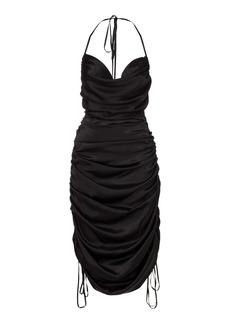 DoDo Bar Or - Women's Merlyn Draped Silk Midi Halter Dress - Black/green - Moda Operandi