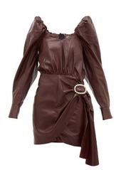Dodo Bar Or Mona crystal-buckle leather dress