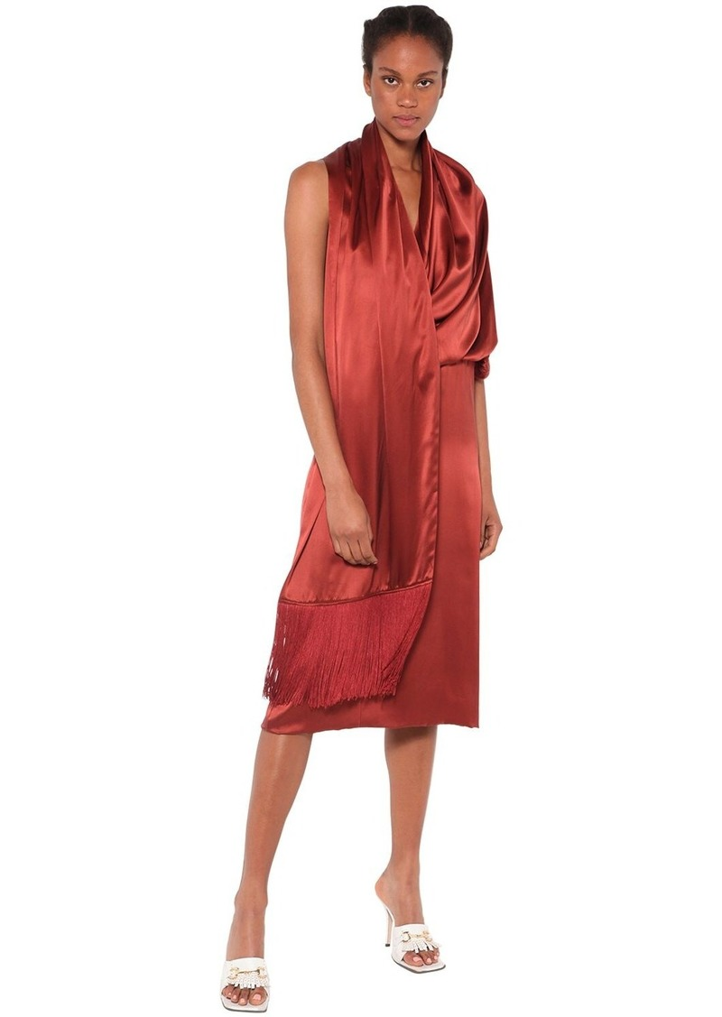 Dodo Bar Or Elle Silk Satin Midi Dress W/ Shawl