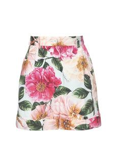 Dolce & Gabbana Camelia Print Cotton Poplin Shorts