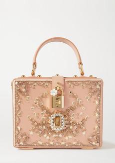 Dolce & Gabbana Crystal-embellished Leather-trimmed Satin Tote