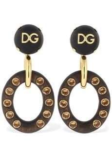 Dolce & Gabbana Dg Clip-on Pendant Earrings W/ Crystals