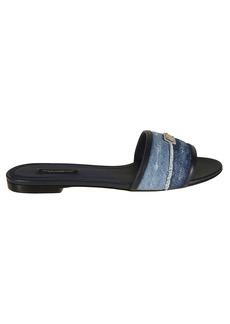Dolce & Gabbana Logo Plaque Flat Sandals