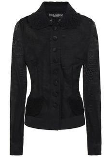 Dolce & Gabbana Woman Crochet-trimmed Knitted Jacket Black