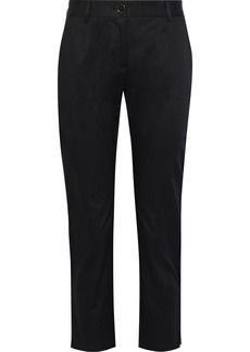 Dolce & Gabbana Woman Cropped Cotton-blend Twill Slim-leg Pants Black