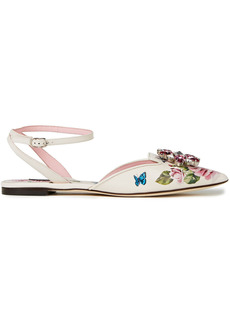 Dolce & Gabbana Woman Crystal-embellished Floral-print Leather Point-toe Flats White