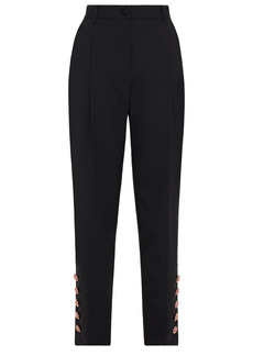 Dolce & Gabbana Woman Crystal-embellished Wool-blend Crepe Tapered Pants Black