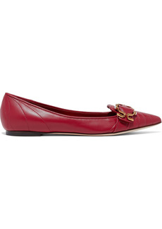 Dolce & Gabbana Woman Devotion Buckle-embellished Quilted Leather Flats Crimson