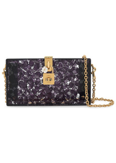 Dolce & Gabbana Woman Dolce Lace And Perspex Box Clutch Dark Purple