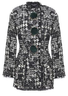 Dolce & Gabbana Woman Embellished Faux Fur-trimmed Bouclé-tweed Coat Black