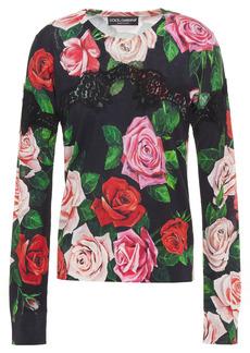 Dolce & Gabbana Woman Lace-paneled Floral-print Silk-blend Sweater Black