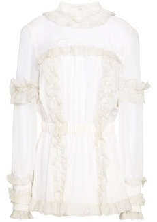 Dolce & Gabbana Woman Lace-trimmed Ruffled Silk-blend Crepe De Chine Blouse Ivory