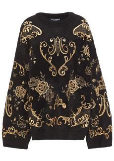 Dolce & Gabbana Woman Metallic Embroidered Wool-blend Sweater Black
