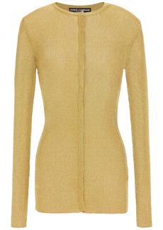Dolce & Gabbana Woman Metallic Ribbed-knit Cardigan Gold