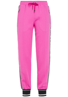 Dolce & Gabbana Woman Monogram-trimmed Stretch-crepe Track Pants Fuchsia