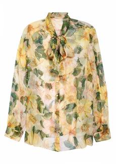 Dolce & Gabbana Dolce&Gabbana Bow Neck Floral Print Silk Chiffon Blouse