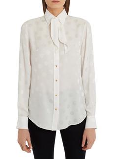 Dolce & Gabbana Dolce&Gabbana Bow Neck Polka Dot Jacquard Silk Blouse