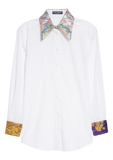 Dolce & Gabbana Dolce&Gabbana Brocade Trim Poplin Button-Up Shirt