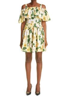 Dolce & Gabbana Dolce&Gabbana Camellia Print Cold Shoulder Tiered Dress