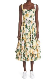 Dolce & Gabbana Dolce&Gabbana Camellia Print Cotton Poplin Midi Dress