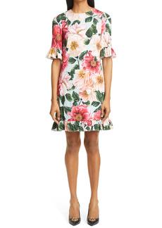 Dolce & Gabbana Dolce&Gabbana Camellia Print Ruffle Trim Stretch Cady Dress