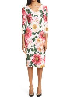 Dolce & Gabbana Dolce&Gabbana Camellia Print Stretch Cady Sheath Dress