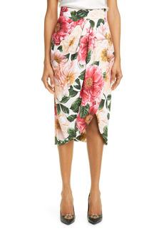 Dolce & Gabbana Dolce&Gabbana Camellia Print Stretch Cady Tulip Midi Skirt