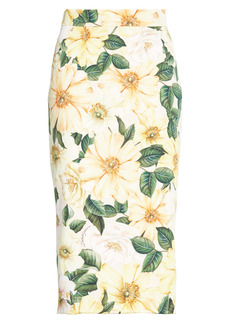 Dolce & Gabbana Dolce&Gabbana Camellia Print Stretch Silk Midi Pencil Skirt