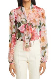 Dolce & Gabbana Dolce&Gabbana Camellia Print Tie Neck Silk Chiffon Blouse