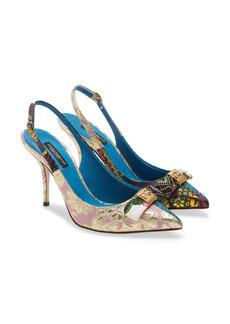 Dolce & Gabbana Dolce&Gabbana Cardinale Patchwork Pointed Toe Slingback Pump (Women)