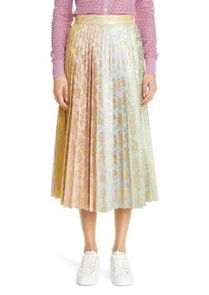 Dolce & Gabbana Dolce&Gabbana Colorblock Floral Jacquard Pleat Midi Skirt