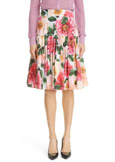 Dolce & Gabbana Dolce&Gabbana Floral Print A-Line Poplin Skirt