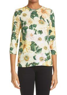 Dolce & Gabbana Dolce&Gabbana Floral Print Stretch Silk Top