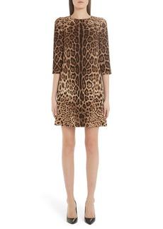 Dolce & Gabbana Dolce&Gabbana Leopard Print Cady Crepe Shift Dress