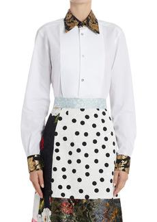 Dolce & Gabbana Dolce&Gabbana Metallic Brocade Trim Cotton Poplin Tuxedo Shirt