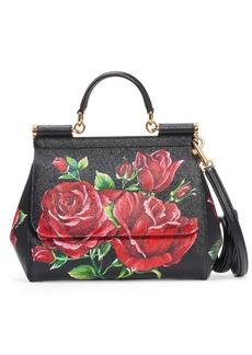 Dolce & Gabbana Dolce&Gabbana Miss Sicily St. Dauphine Roses Print Leather Top Handle Satchel