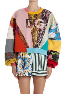 Dolce & Gabbana Dolce&Gabbana Patchwork Logo Embroidered Sweatshirt
