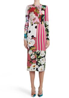 Dolce & Gabbana Dolce&Gabbana Patchwork Long Sleeve Sheath Dress
